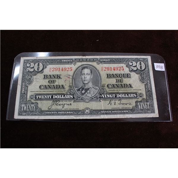 Canada Twenty Dollar Bill - 1937