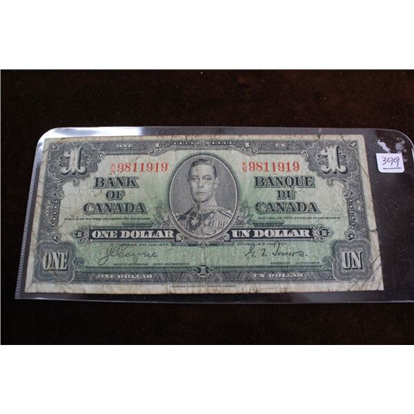 Canada One Dollar Bill - 1937; Heavily Circulated