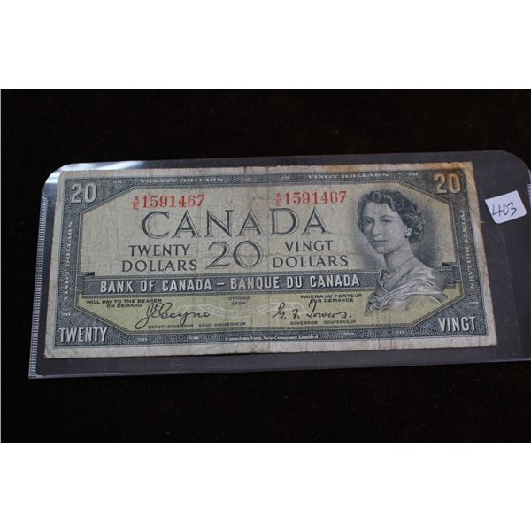 Canada Twenty Dollar Bill - 1954; Well Circulated