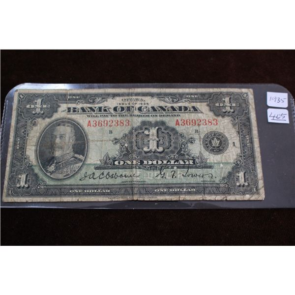 Bank of Canada One Dollar Bill - 1935; Well Worn