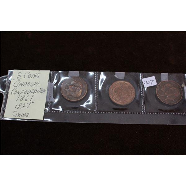 Canada Coins (3) Confederation 1867-1927