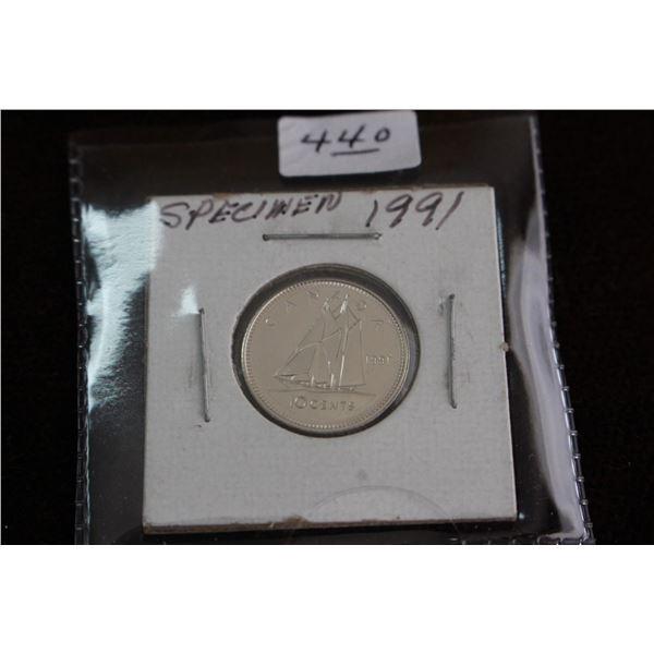 Canada Ten Cent Coin - 1991, Specimen