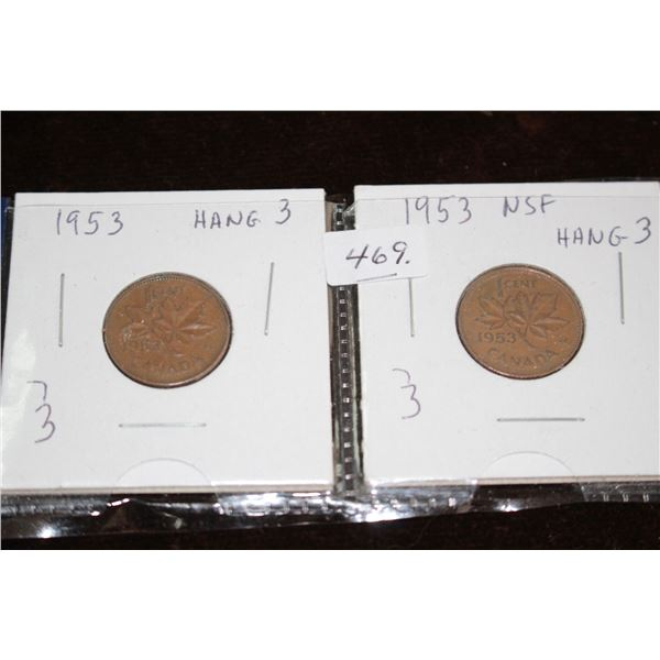 Canada One Cent Coins (2) - 1953