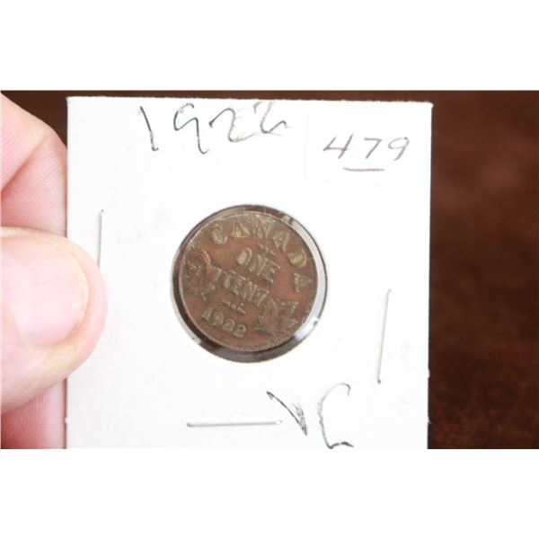 Canada One Cent Coin - 1922, VG