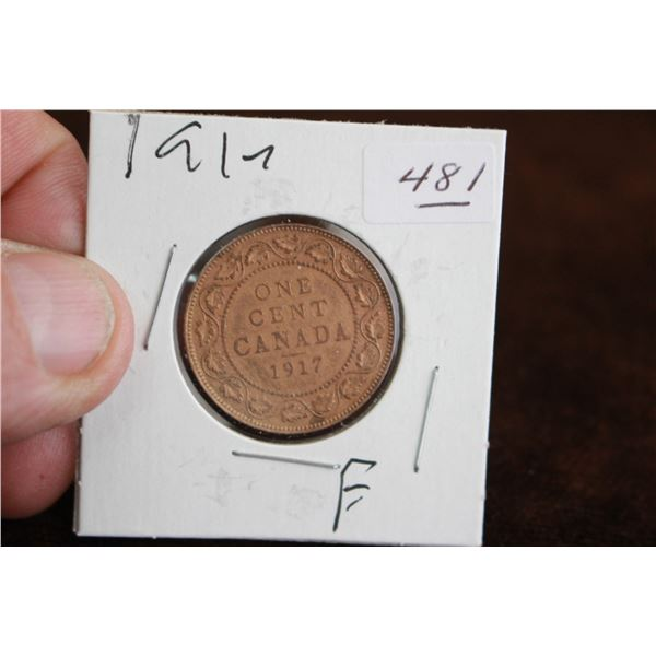 Canada One Cent Coin - 1917, F