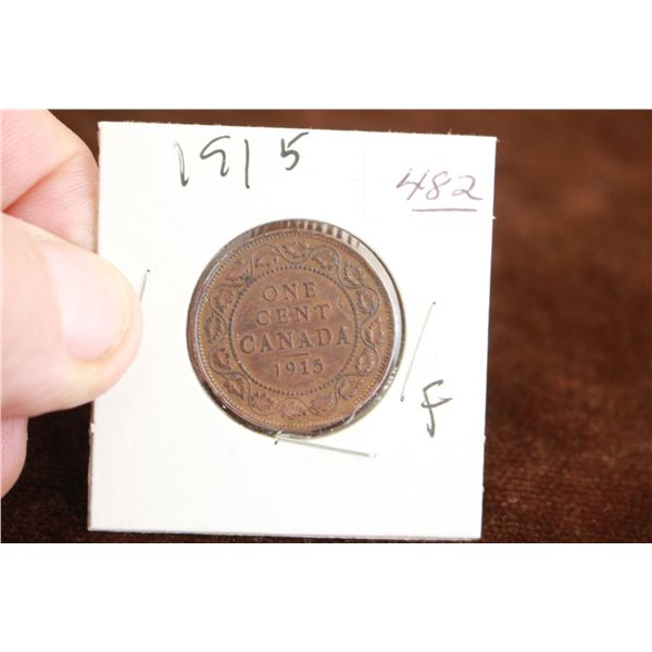 Canada One Cent Coin - 1915, F
