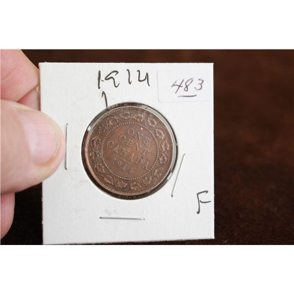 Canada One Cent Coin - 1914, F