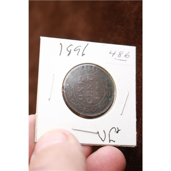 Canada One Cent Coin - 1896, VG+, Holed