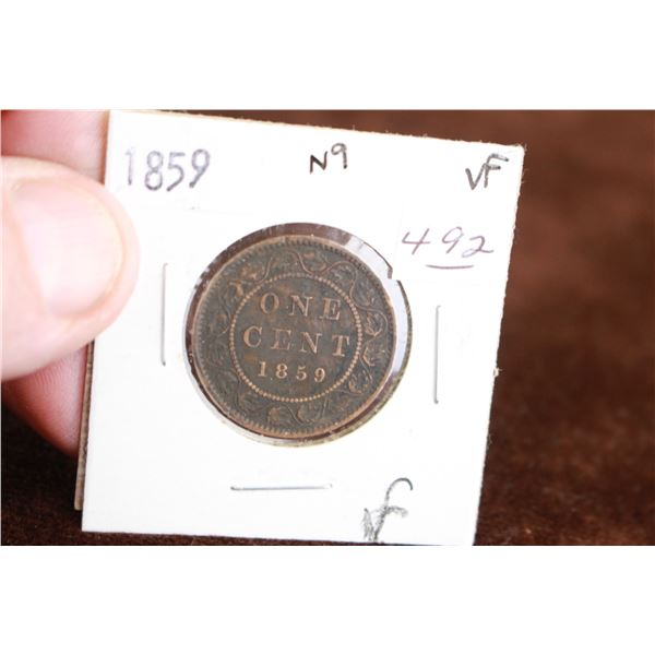 Canada One Cent Coin - 1859, VF, N9