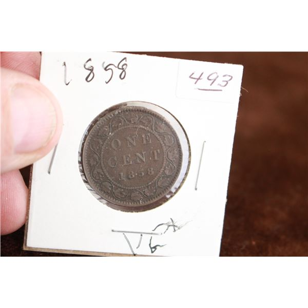 Canada One Cent Coin - 1858, VG+