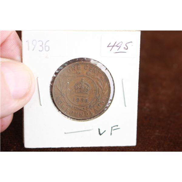 Newfoundland One Cent Coin - 1936, VF