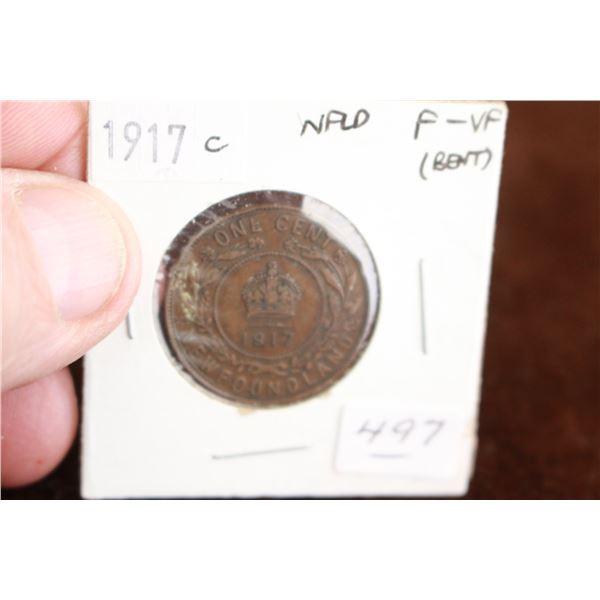 Newfoundland One Cent Coin - 1917c, F-VF (Bent)