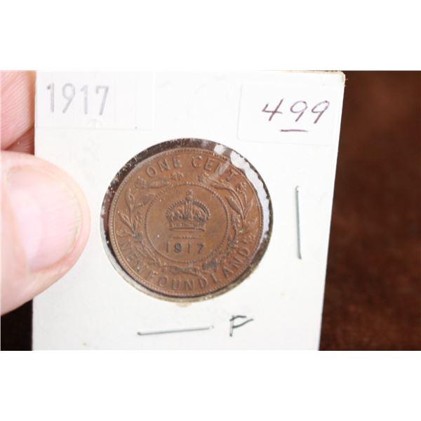 Newfoundland One Cent Coin - 1917, F