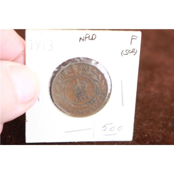 Newfoundland One Cent Coin - 1913, F