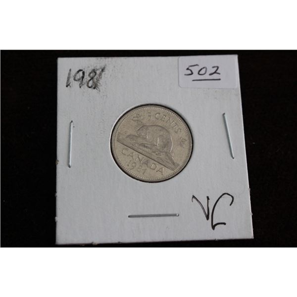 Canada Five Cent Coin - 1981, VG