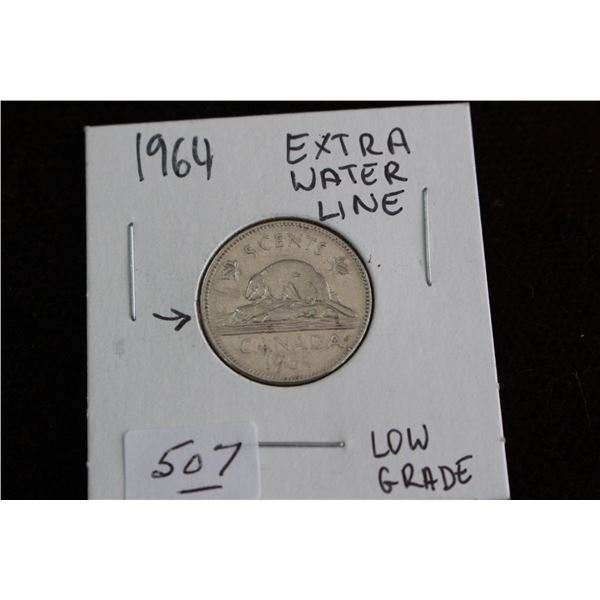 Canada Five Cent Coin - 1964, Low Grade