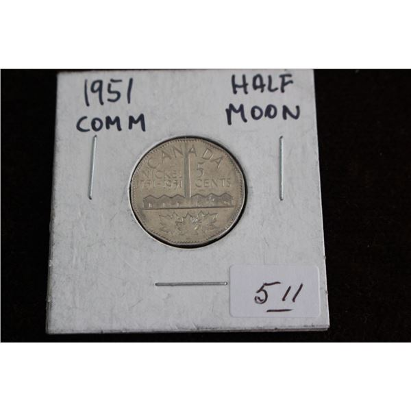 Canada Five Cent Coin - 1951