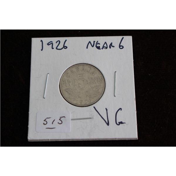Canada Five Cent Coin - 1926, Near 6, VG