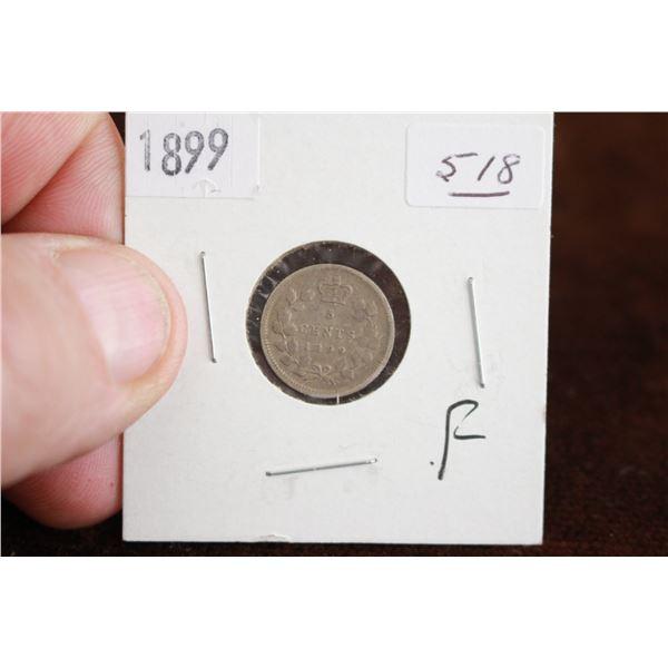 Canada Five Cent Coin - 1899, F, Silver