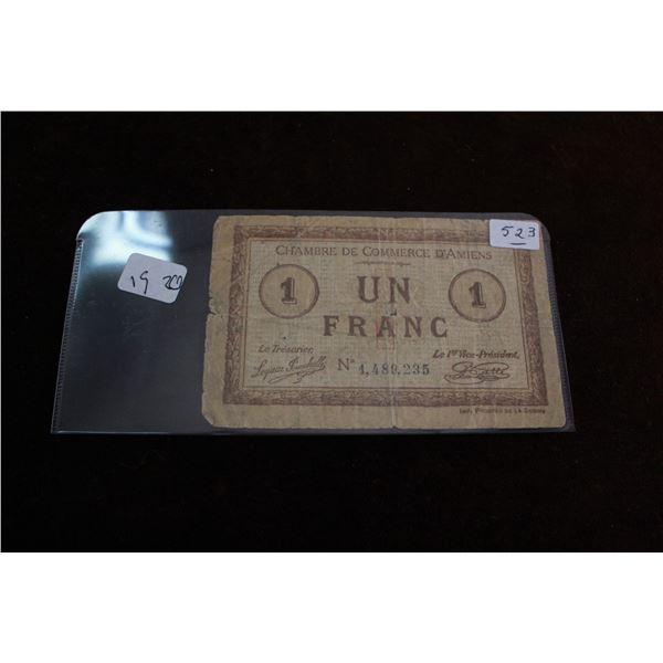 """""""Chambre De Commerce D'Amiens"""" Un Franc - 1920"""