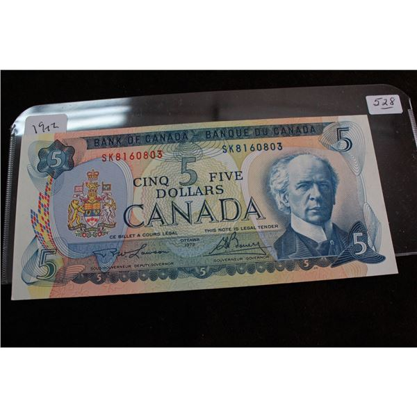 Canada Five Dollar Bill - 1972; Choice Unc.