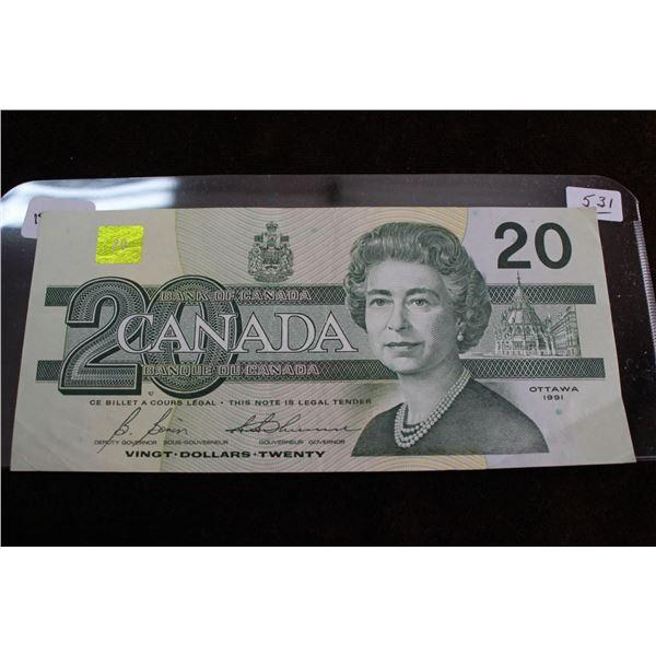 Canada Twenty Dollar Bill - 1991