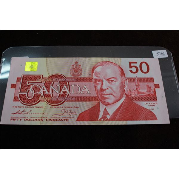 Canada Fifty Dollar Bill - 1988