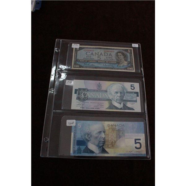 Canada Five Dollar Bills (3)