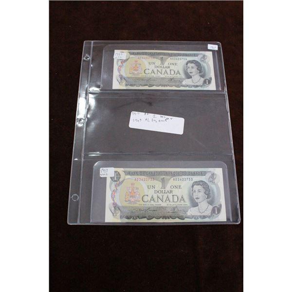 Canada One Dollar Bills (2) - 1973, in Sequence