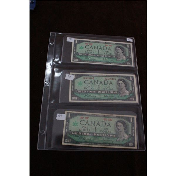 Canada One Dollar Bills (3) - 1967, two have no serial numbers