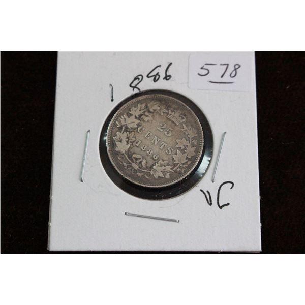 Canada Twenty-five Cent Coin - 1886, VG