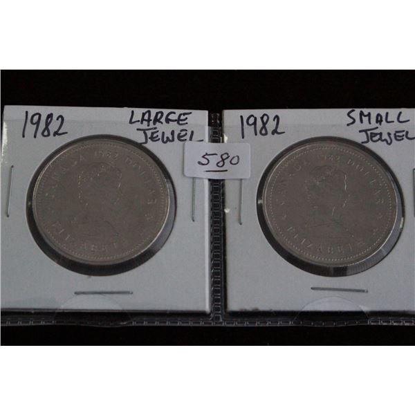 Canada One Dollar Coins - (2) 1982