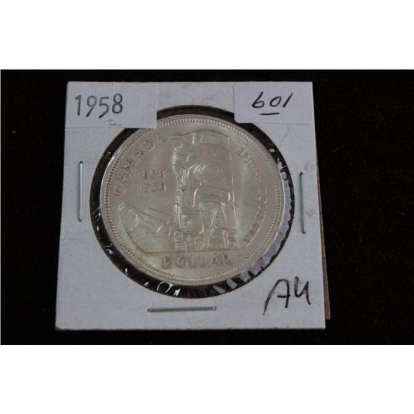 Canada One Dollar Coin - 1958, AU, Silver