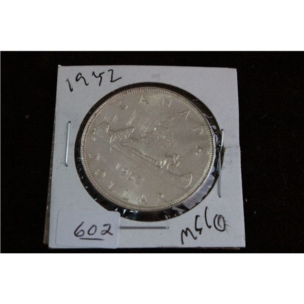 Canada One Dollar Coin - 1952, MS60, Silver