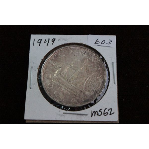 Canada One Dollar Coin - 1949, MS62, Silver