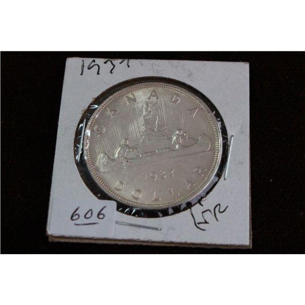 Canada One Dollar Coin - 1937, VF, Silver