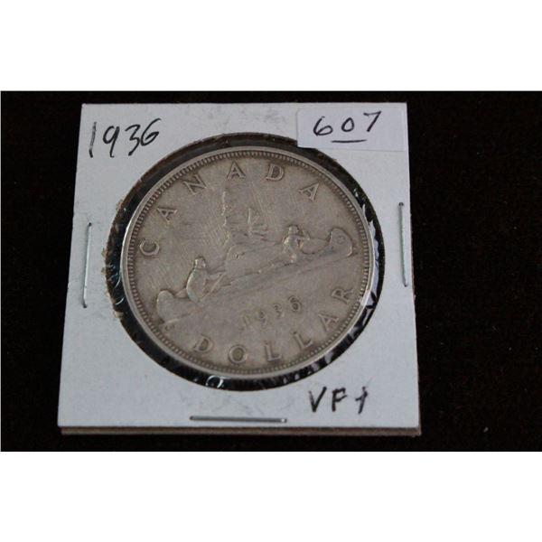 Canada One Dollar Coin - 1936, VF+, Silver