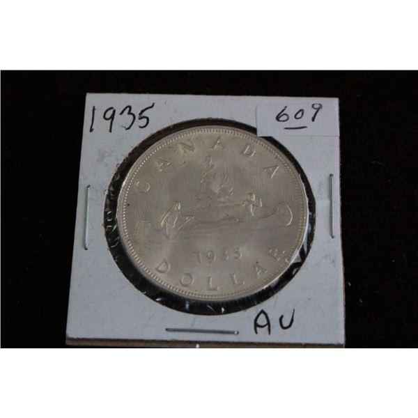 Canada One Dollar Coin - 1935, AU, Silver