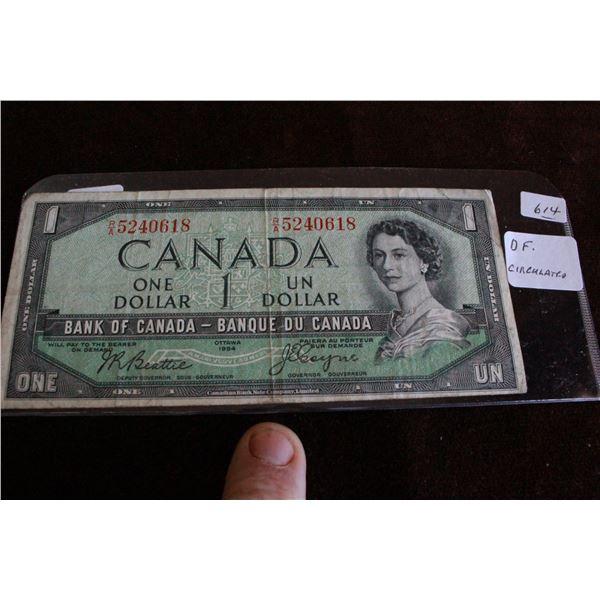"Canada One Dollar Bill - 1954 ""Devil's Face"""