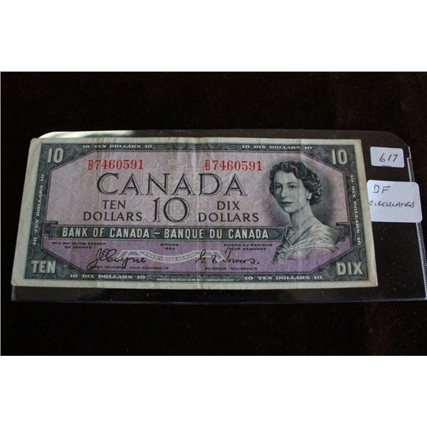 "Canada Ten Dollar Bill - 1954 ""Devil's Face"""