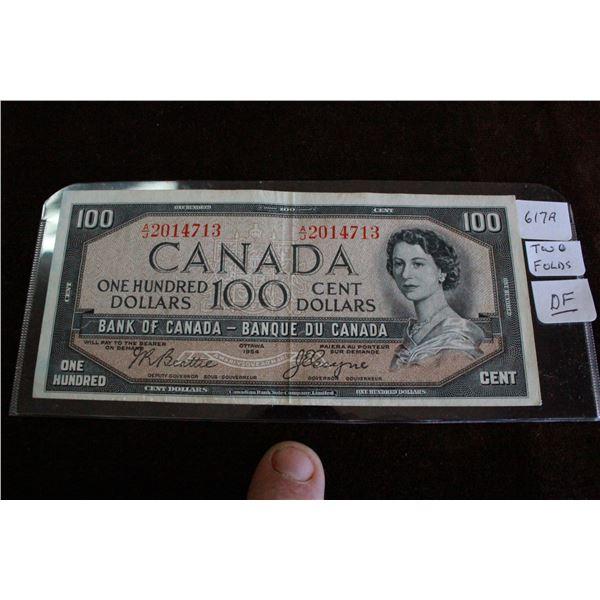 """Canada One Hundred Dollar Bill - 1954 """"Devil's Face"""""""