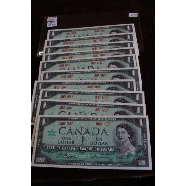 Canada One Dollar Bills (10) - 1967, Choice Unc.