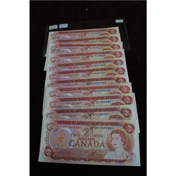 Canada Two Dollar Bills (11) - 1974, Choice Unc.