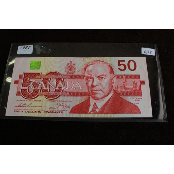 Canada Fifty Dollar Bill - 1988