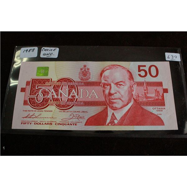Canada Fifty Dollar Bill - 1988, Choice Unc.
