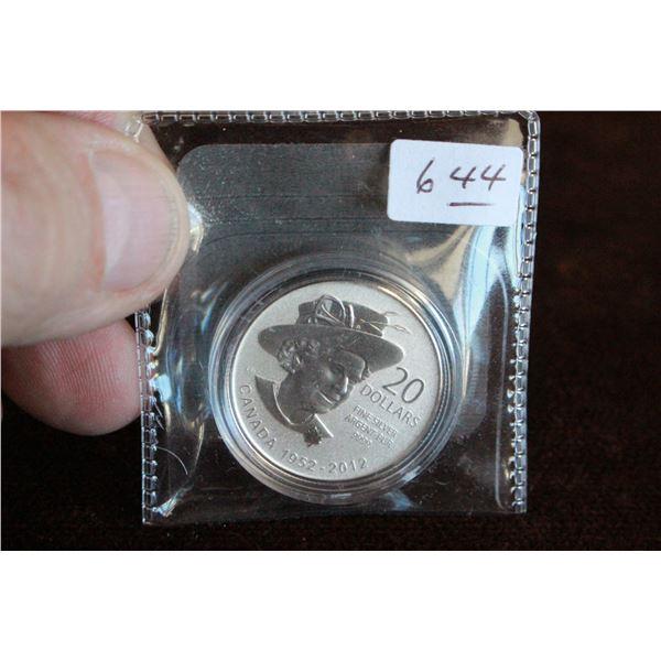 Canada Twenty Dollar Coin - 2012; .999 Silver *No GST