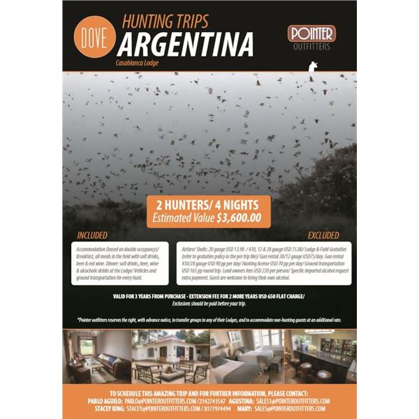 Argentina High Volume Dove Hunting for 2 Hunters