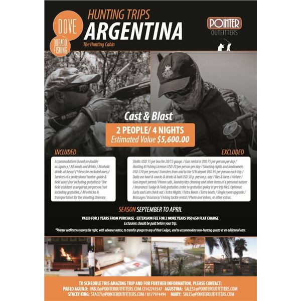 Hunting Cabin Cast & Blast for Dove and Dorado Fishing - Pointer Wingshooting Argentina