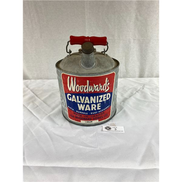 Vintage Woodwards 1 Gallon Can with Paper Label Great Condition