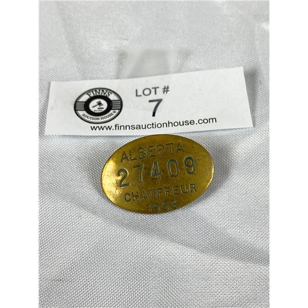 1953 Alberta Chauffeur Badge